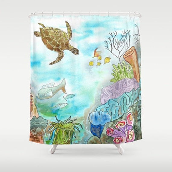 Details. Undersea Turtle Shower Curtain