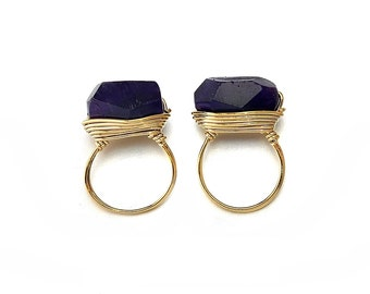 Amethyst Gemstone Ring Pendant . Jewelry Craft Supplies . 16K Polished Gold Plated over Brass  / 2 Pcs - DG012-PG-AM