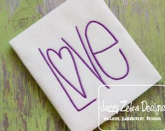 Love Word Satin Stitch Design