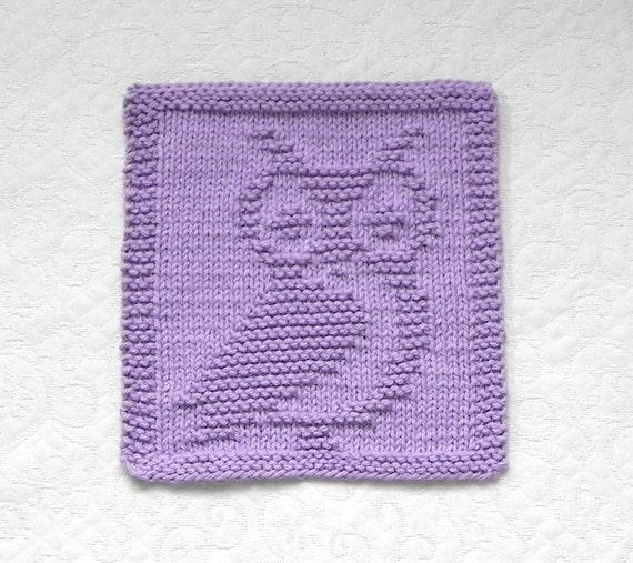 OWL Knit Dishcloth Unique Hand Knitted Design Lavender