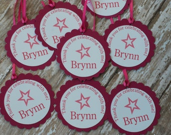 Birthday girl favor tags, doll party Favor Tags (set of 10)