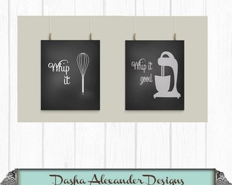 Whip It Good with Mixer and Kitchen Whip  Print Art,  Kitchen Print or Metal Sign Choose Your Favorite Color