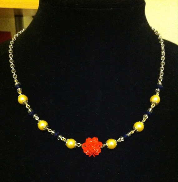 Disney beauty and the beast bell inspired necklace by for Disney beauty and the beast jewelry