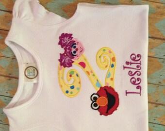 Elmo and Abby birthday shirt or bodysuit