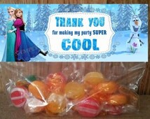 INSTANT DOWNLOAD Disney Frozen Treat Bag Toppers  Thank You  Printable file for Birthday Party matches Disney Frozen  invitations