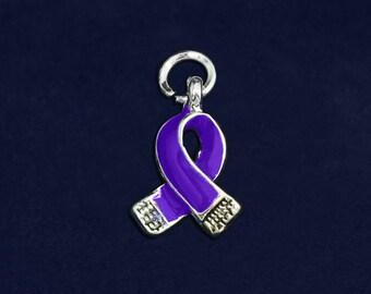 25 Small Violet Ribbon Charms - 25 Charms    (CHARM-06-27)