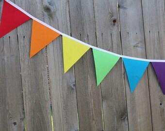 Rainbow Bunting Banner, Rainbow Birthday Banner, Colorful Bunting Banner, Summer Bunting Banner, Rainbow Fabric Flags, Rainbow Photo Prop