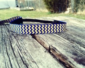 Sweat Me Pretty Non Slip Headband in Royal Blue and Yellow Chevron Print (Boston Marathon Inspired)