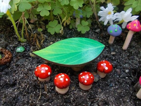 Fairy Garden Leaf Table With Mushroom Stools Fairy Garden Doll House  Miniature Garden