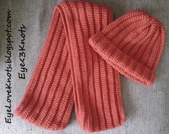 Crochet Adult Red Ribbed Scarf and/or Hat/Beanie - the Sam Set. Completely Customizable!