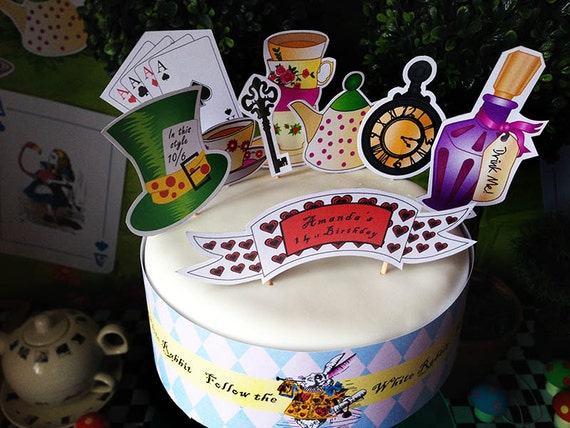 ALICE in Wonderland - Personalised - Cake Toppers - Cake Wrap - CUPCAKE Wrappers - Cupcake Toppers -CAKE Pack - Printable Pdf
