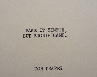 THE DON DRAPER: Typewriter quote on 5x7 cardstock