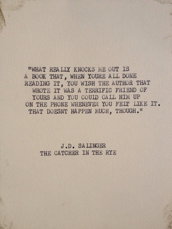 items similar to the j d salinger typewriter quote on