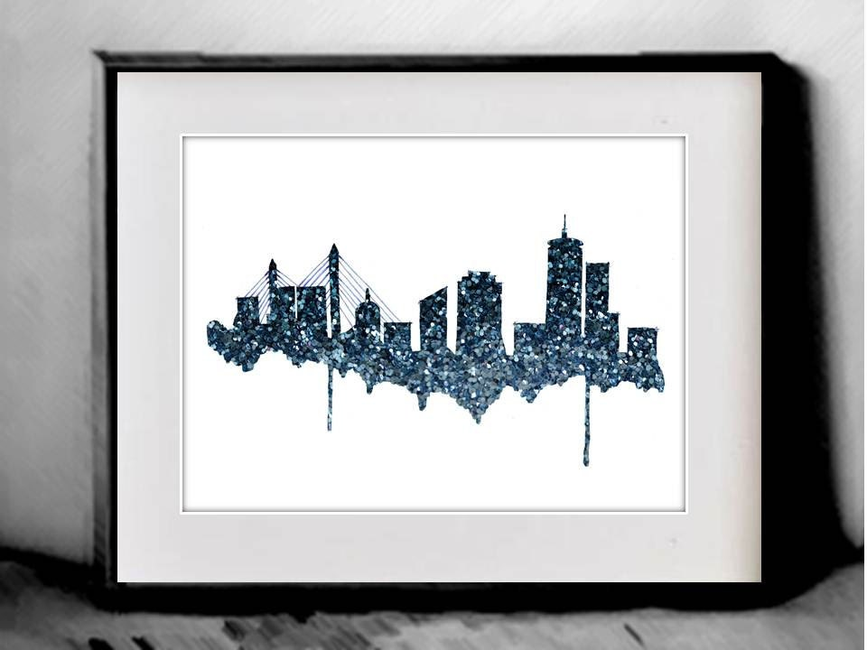Glitter Boston Skyline Print Home Decor And Scenic Wall Art