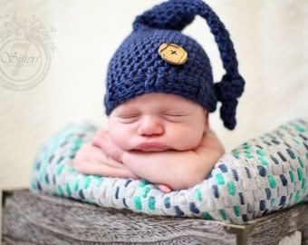 Blue top knot hat, Baby hat, crocheted baby beanie, baby gift, baby accessory, photo prop, newborn