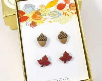 2 Pairs of Fall Earrings, Acorn and Leaf Stud Earrings, Red Fall Leaf, Tiny Leaf, Tiny Acorn, Mini earrings, Autumn Post Earrings