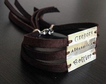 hand stamped leather bracelet - Personalized Sterling Silver Bracelet - Three TAG - Brown Bracelet