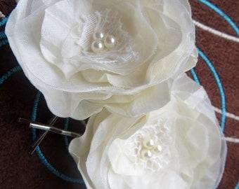 Ivory Bridal hair flower accessory (set of 2), bridal hair piece, bridal hair clips, wedding hair accessories, wedding hair flower, rustic