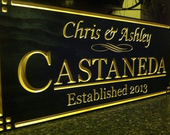 Personalized Wedding Gift. V carved hardwood wall decore