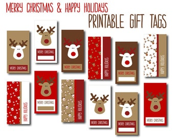 Digital Christmas Gift Tags - Red, White & Brown Reindeers - DIY Printable Merry Christmas and Happy Holiday Gift Labels, INSTANT DOWNLOAD