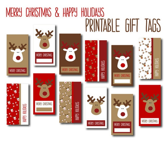 Digital Christmas Gift Tags - Red, White & Brown Reindeers - DIY ...