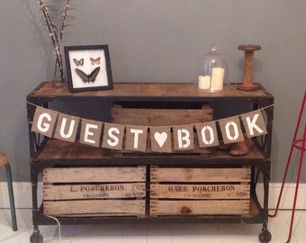 Hessian Burlap GUEST BOOK wedding banner bunting