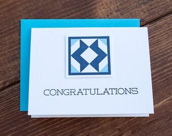 Congratulations. Quilt Letterpress Greeting Card