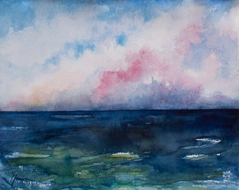 SALE 30% OFF-Original watercolor  painting, DEEP,beach painting, seascape painting, blue,clouds,watercolor seascape,dramatic clouds