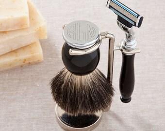 Personalized Men's Shaving Set - Badger Hair Shaving Brush & Razor Set - Monogram Shaving Set - Husband Gifts - GC1114