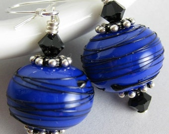 "Cobalt blue lampwork bead earrings...Blue lampwork bead earrings...Cobalt blue dangle earrings...""Blue Stringers"""