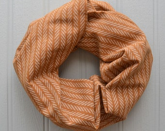 Orange and white striped infinity loop linen scarf