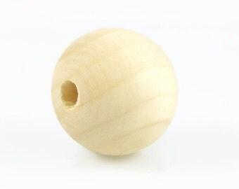 2.5cm UNFINISHED WOOD BEADS (Set of 20) - Round Ball Natural Unfinished Wood Beads (2.5cm)