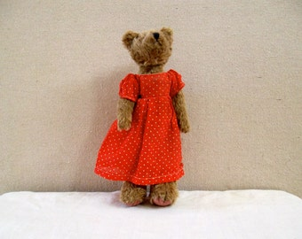 Vintage Jointed Teddy Bear in Red Polka Dot Dress