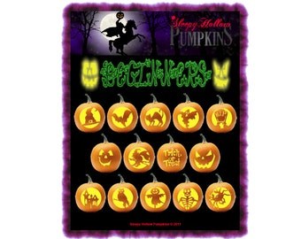 Beginner Pumpkin Carving Patterns - Printable PDF