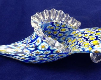 VINTAGE Millefiori MURANO Glass Slipper Venetian Glass Shoe Paperweight