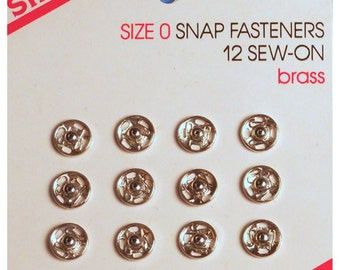 48 Singer Size 0 Sew-In Sew-On Snaps (4 cards, with 1 dozen per card)