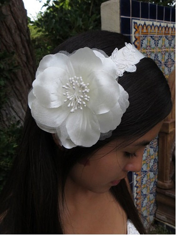 Bridal Flower Headband, Floral lace Headband, Ivory Lace Headband, Wedding Headpiece, Bridal Hair  -ELEANOR Headband