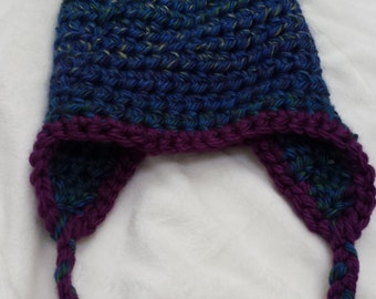 Sale tweed blue purple yellow soft and colorful earflap toddler hat.