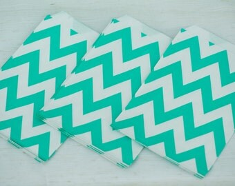 Aqua Chevron Favor Bags