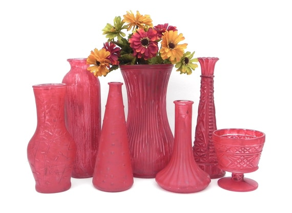 Items similar to shabby chic vases in burgundy red