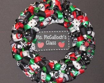 Personalized Teacher's Ribbon Wreath