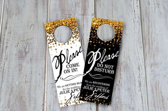 wedding hotel door hangers two sided welcome by gethappydesign