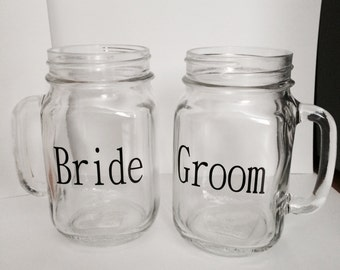Bride and Groom Mason Jar Glasses