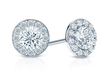 14k Gold Halo Round Diamond Stud Earrings 0.75 ct. tw. (G-H, SI2)