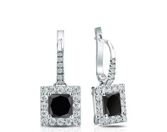 14k Gold Dangle Studs Halo Princess-Cut Black Diamond Stud Earrings 1.00 ct. tw.
