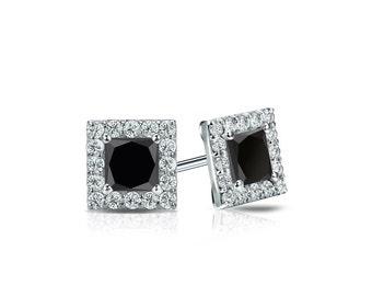 14k Gold Halo Princess-Cut Black Diamond Stud Earrings 0.75 ct. tw.