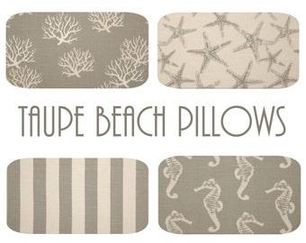 Nautical Euro Pillow Cover - One, 22 x 22, 24 x 24, 26 x 26, Beach Pillow, Taupe Ocean Decor, Seahorse Starfish Stripe Pillow, Beach Decor