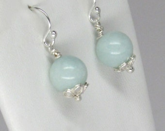 light green amazonite earrings, silver flower earrings, genuine amazonite earrings, silver amazonite daisy earrings, apple green earrings