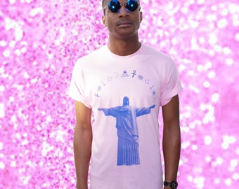 HUGE SALE!! Pink 'Jesus Christ Super Star' T-shirt Blue Screen Print Symbols Sigils Sea Punk
