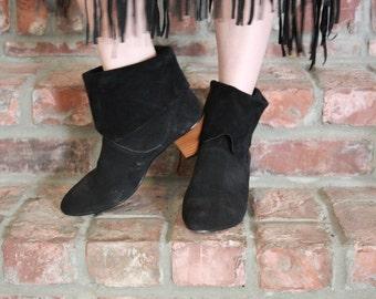 SALE - Black Suede Boots - 7.5